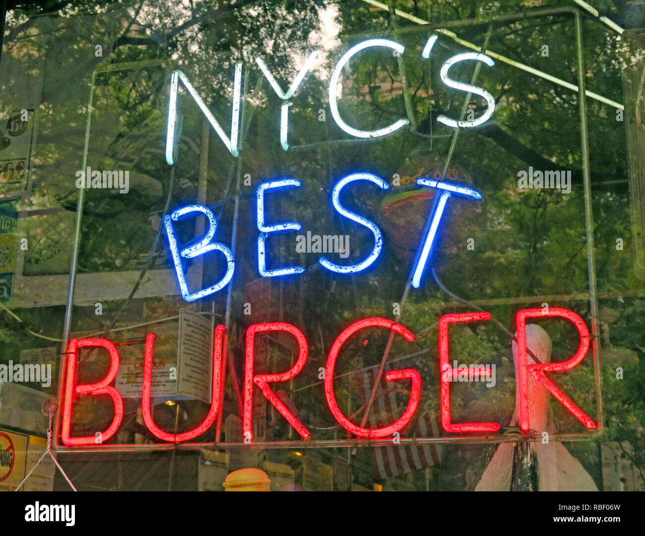 New York Citys Best Burger neon sign, NYCs Best Burger, East Village, Manhattan,  NY, USA - Stock Image