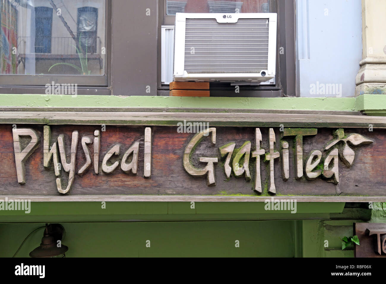 Physical Graffitea ( Physical Graffiti ) after Led Zeppelin album, cafe, 96 St Marks Pl, New York, NY 10009, USA - Stock Image