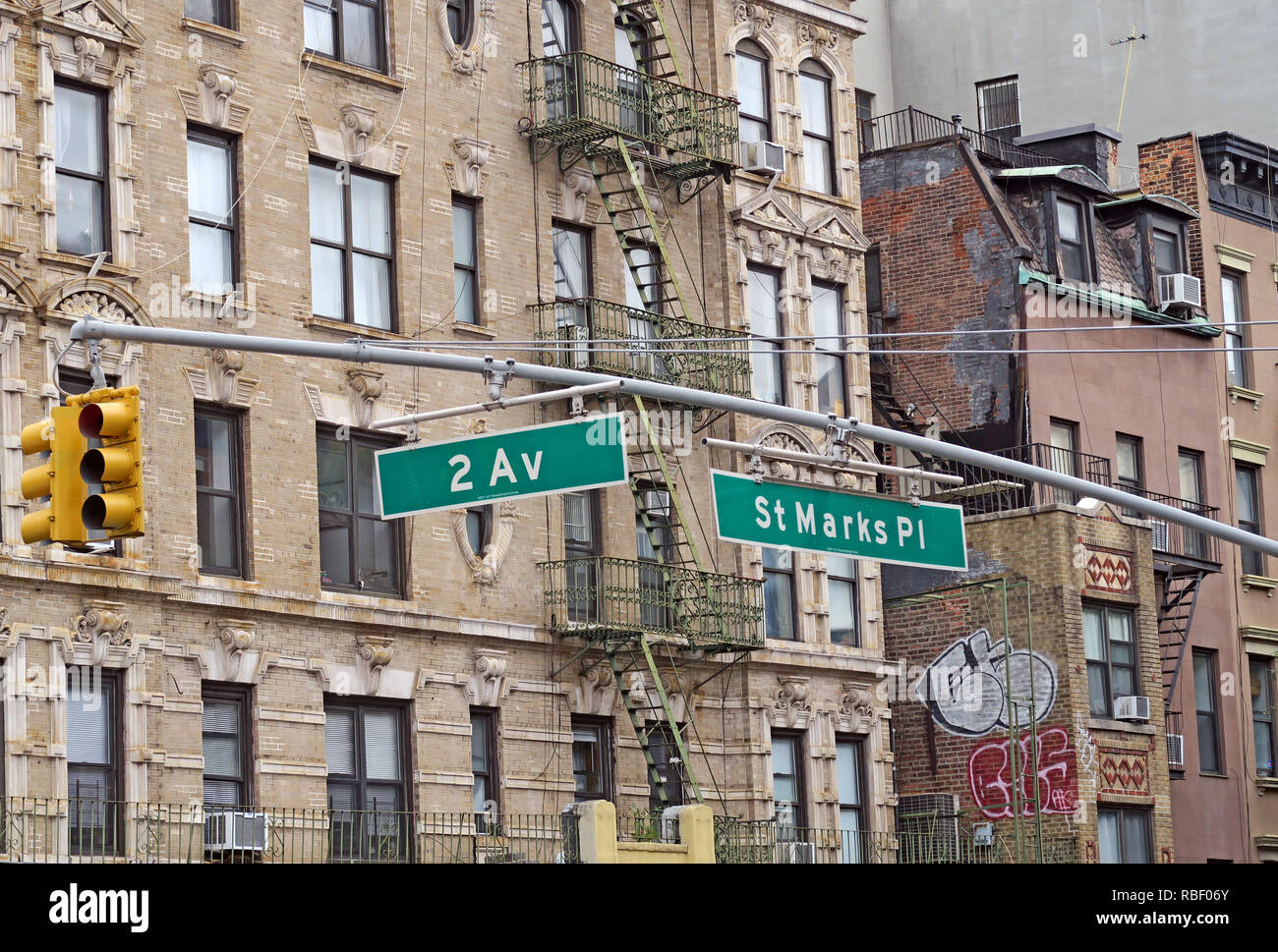 St Marks Place, 2nd avenue, tenements, East Village, Manhattan, New York City, NYC, NY, USA - Stock Image