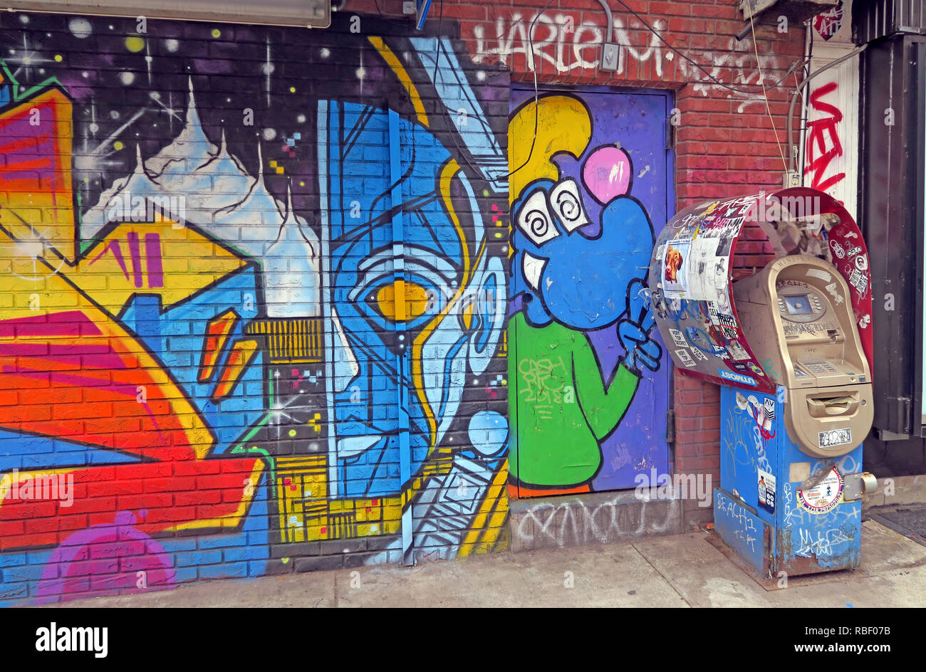 Money and Art, ATM at East 7th Street, East Village, Manhattan, New York, NY, USA - Stock Image