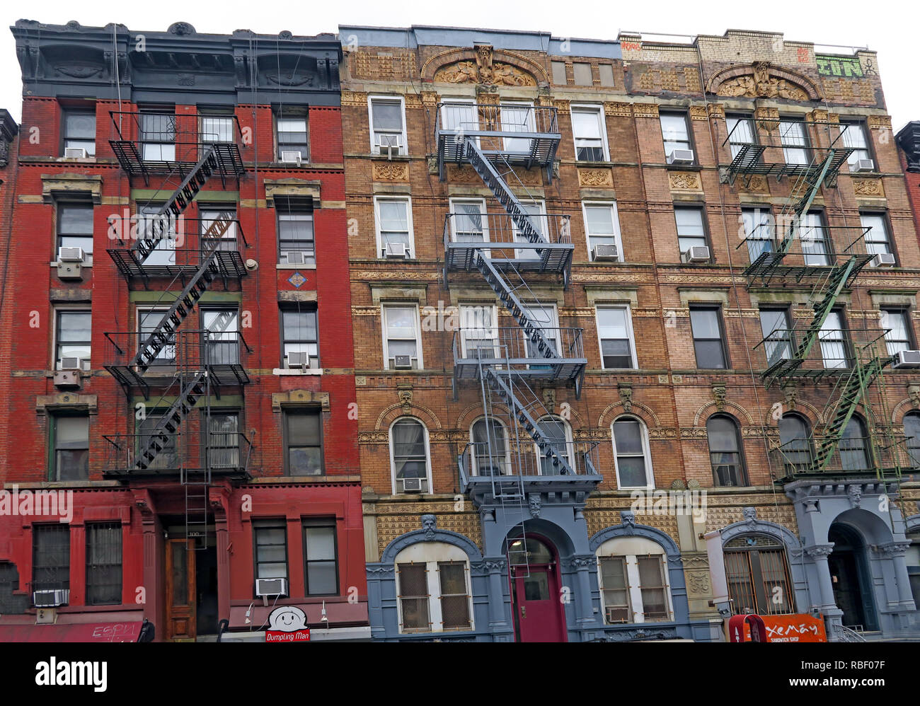 98, Saint Mark's Place, East Village, Manhattan Led Zeppelin cover tenements from Physical Graffiti album, New York City, NY - Stock Image
