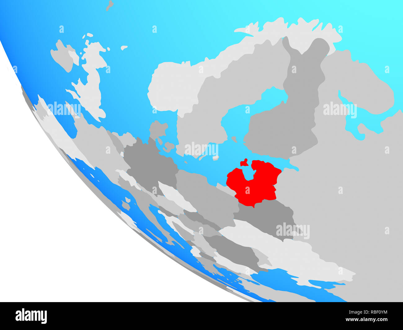 Baltic States on simple globe. 3D illustration. Stock Photo