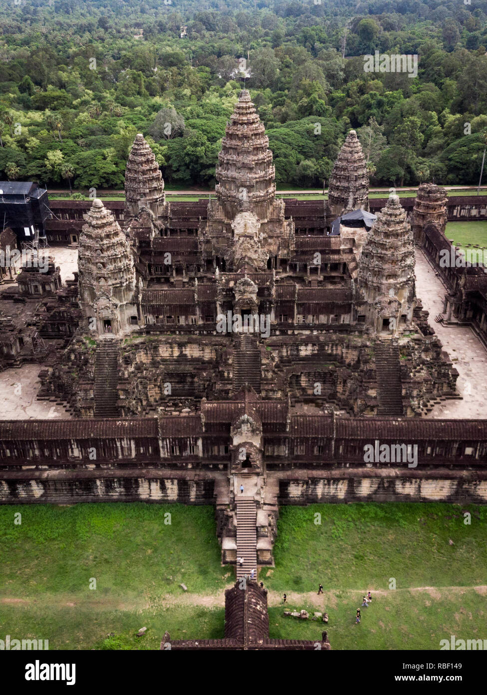 Aerial view of Angkor Wat temple, Siem Reap, Cambodia. - Stock Image