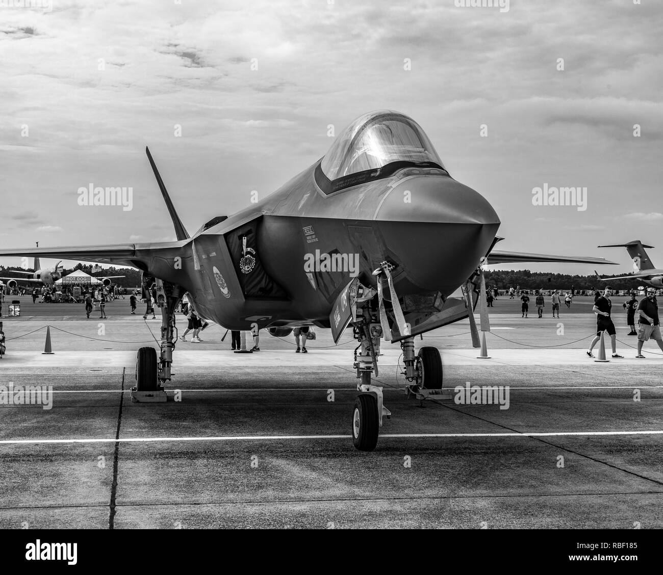 An F-35 military Fighter Jet on static display in an Air Show at Westover Air Force Base in Massachusetts - Stock Image