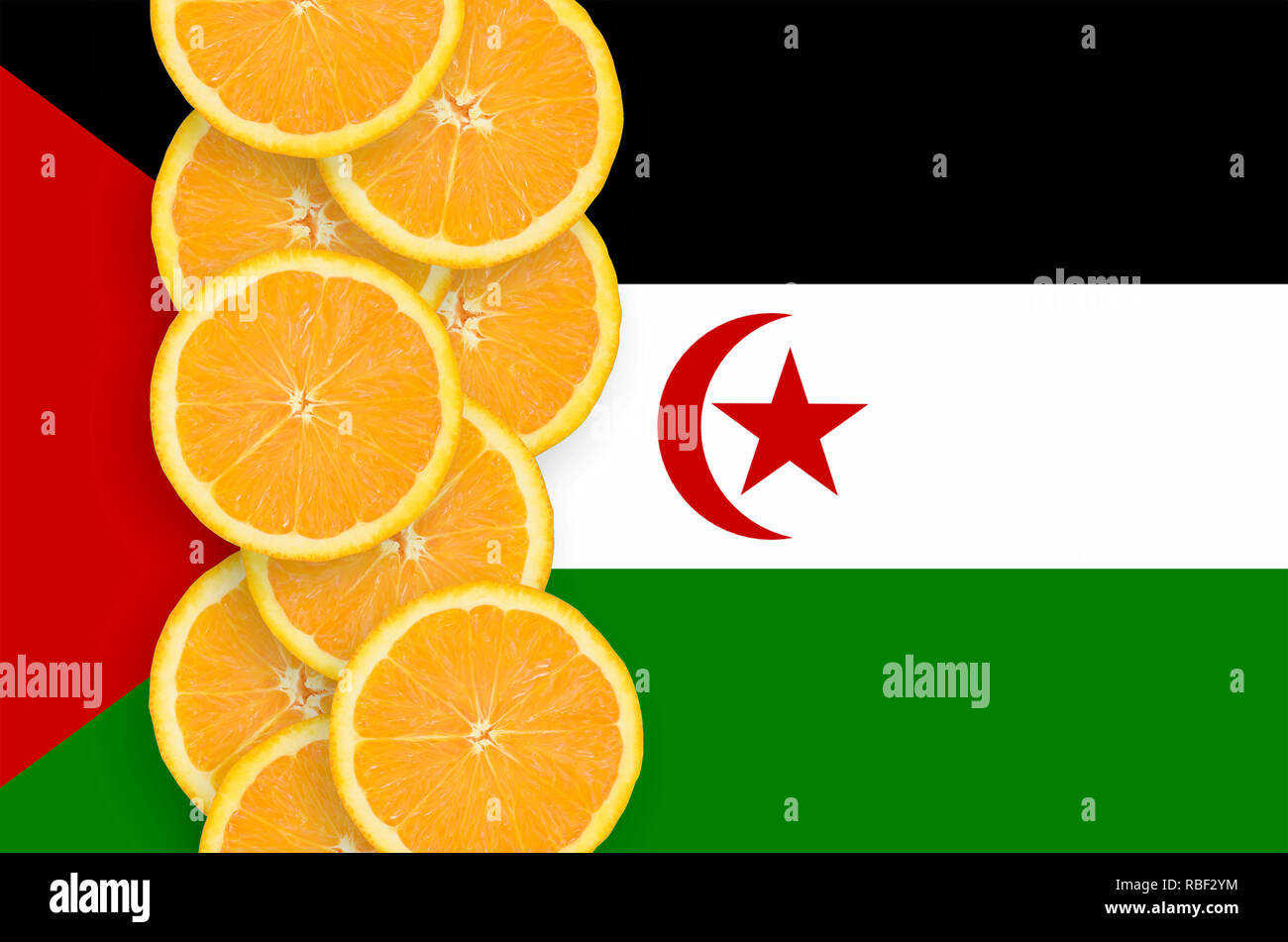 Western Sahara flag and vertical row of orange citrus fruit slices. Concept of growing as well as import and export of citrus fruits - Stock Image