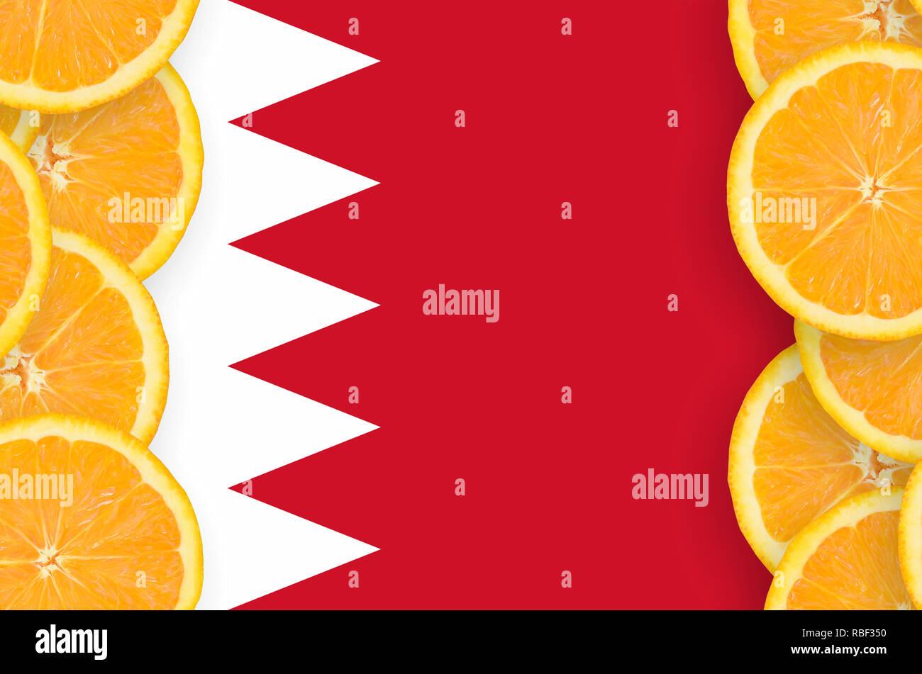 Bahrain flag in vertical frame of orange citrus fruit slices