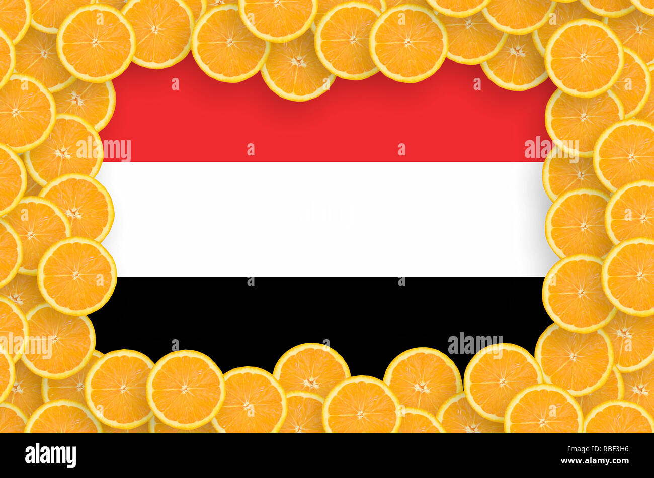 Yemen flag  in frame of orange citrus fruit slices. Concept of growing as well as import and export of citrus fruits - Stock Image