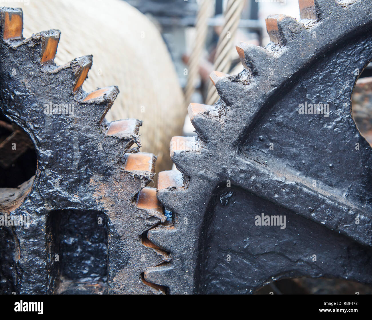 large steel greased gears in a single mechanism - Stock Image