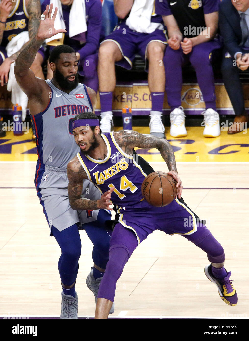 Los Angeles, California, USA. 9th Jan, 2019. Los Angeles Lakers' Brandon Ingram (14) drives against Detroit Pistons' Andre Drummond (0) during an NBA basketball game between Los Angeles Lakers and Detroit Pistons Wednesday, Jan. 9, 2019, in Los Angeles. Credit: Ringo Chiu/ZUMA Wire/Alamy Live News Stock Photo
