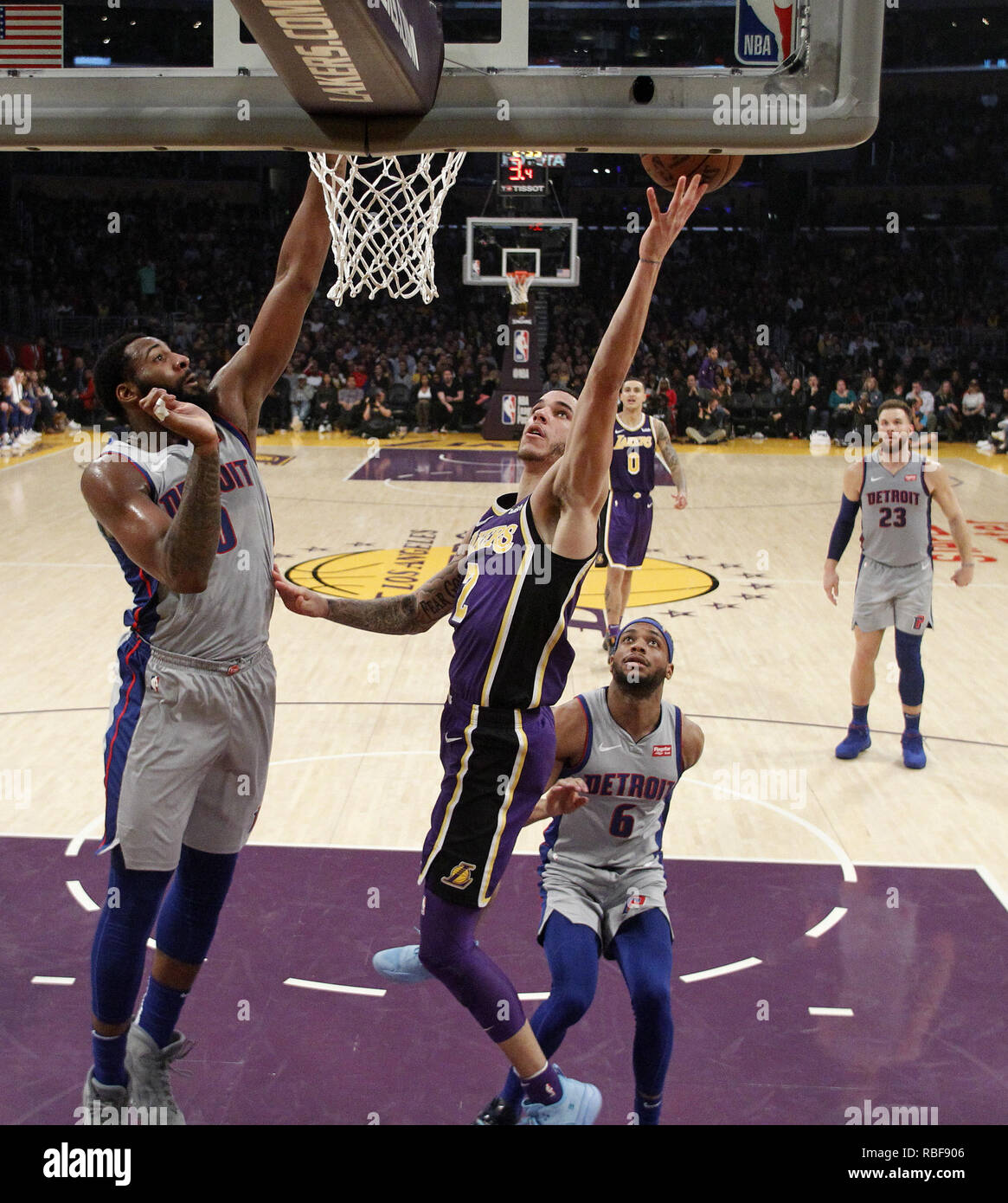 Los Angeles, California, USA. 9th Jan, 2019. Los Angeles Lakers' Lonzo Ball (2) goes to basket while defended by Detroit Pistons' Andre Drummond (0) during an NBA basketball game between Los Angeles Lakers and Detroit Pistons Wednesday, Jan. 9, 2019, in Los Angeles. Credit: Ringo Chiu/ZUMA Wire/Alamy Live News Stock Photo