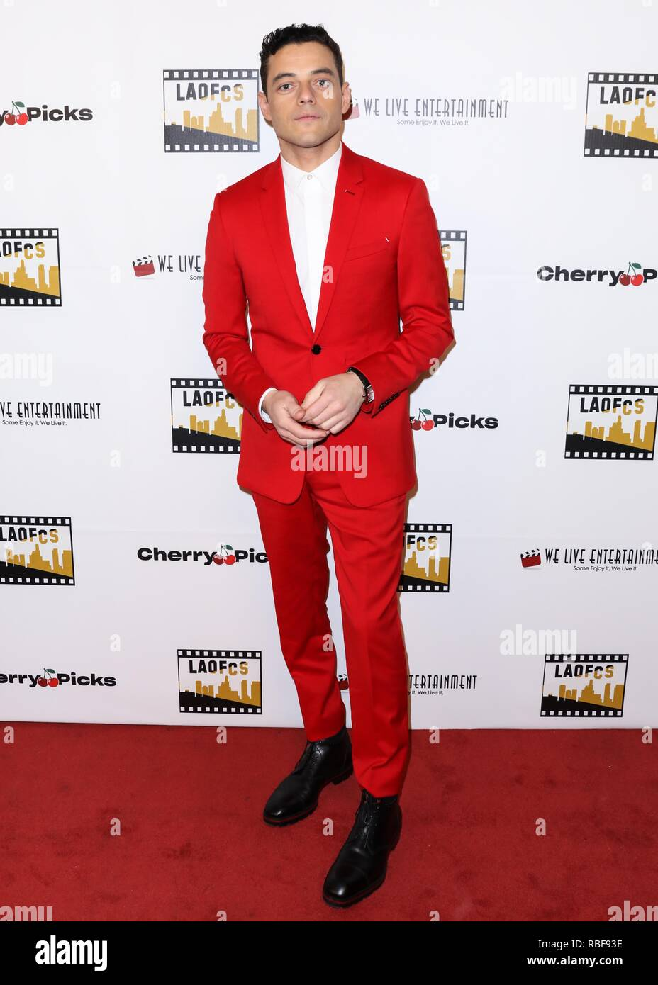 Los Angeles, California, USA. 9th January, 2019. Actor Rami Malek arrives at the 2nd Annual Los Angeles Online Film Critics Society Award Ceremony held at the Taglyan Cultural Complex on January 9, 2019 in Hollywood, Los Angeles, California, United States. (Photo by David Acosta/Image Press Agency) Credit: Image Press Agency/Alamy Live News - Stock Image