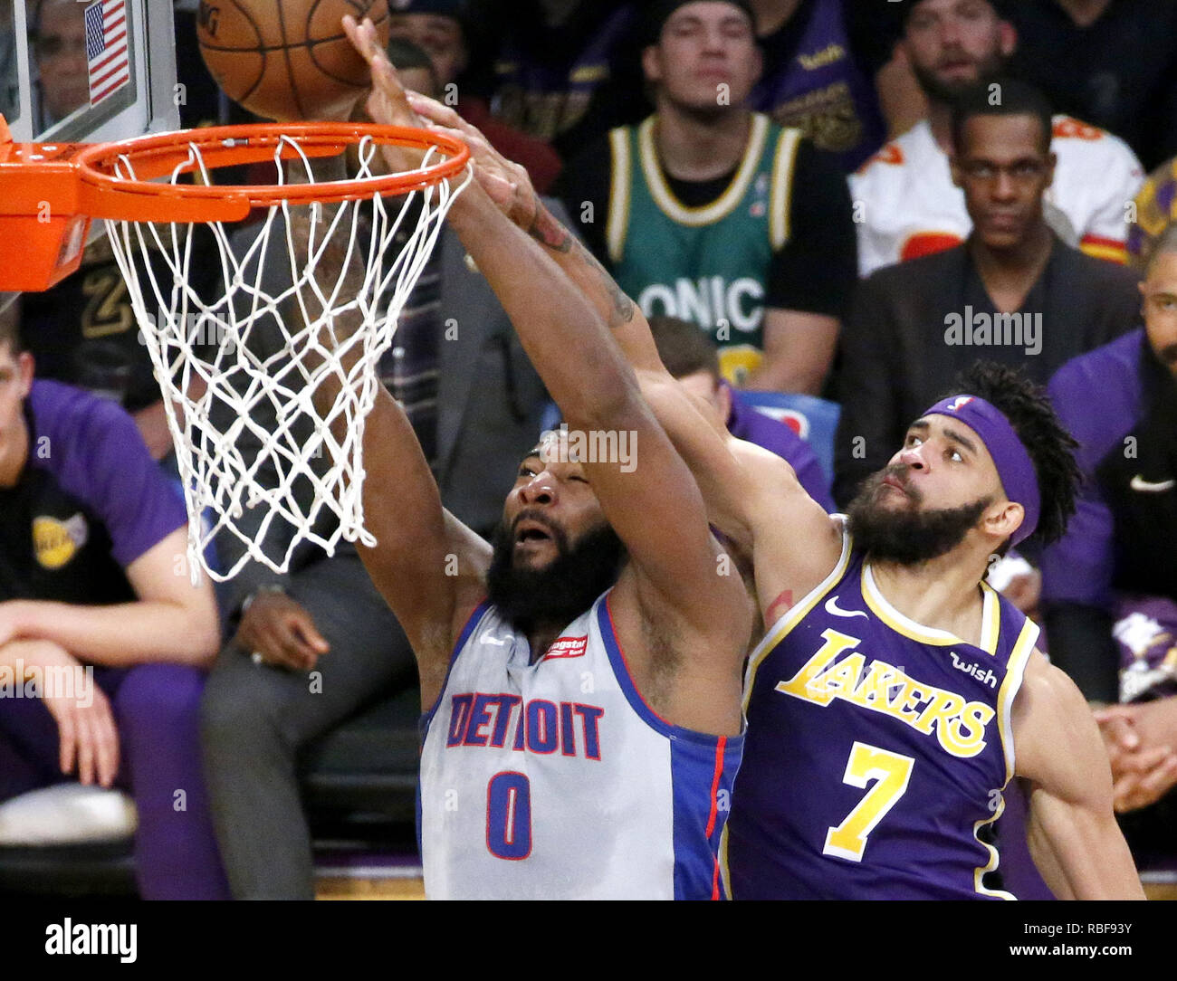 Los Angeles, California, USA. 9th Jan, 2019. Detroit Pistons' Andre Drummond (0) dunks while defined by Los Angeles Lakers' JaVale McGee (7) during an NBA basketball game between Los Angeles Lakers and Detroit Pistons Wednesday, Jan. 9, 2019, in Los Angeles. Credit: Ringo Chiu/ZUMA Wire/Alamy Live News Stock Photo