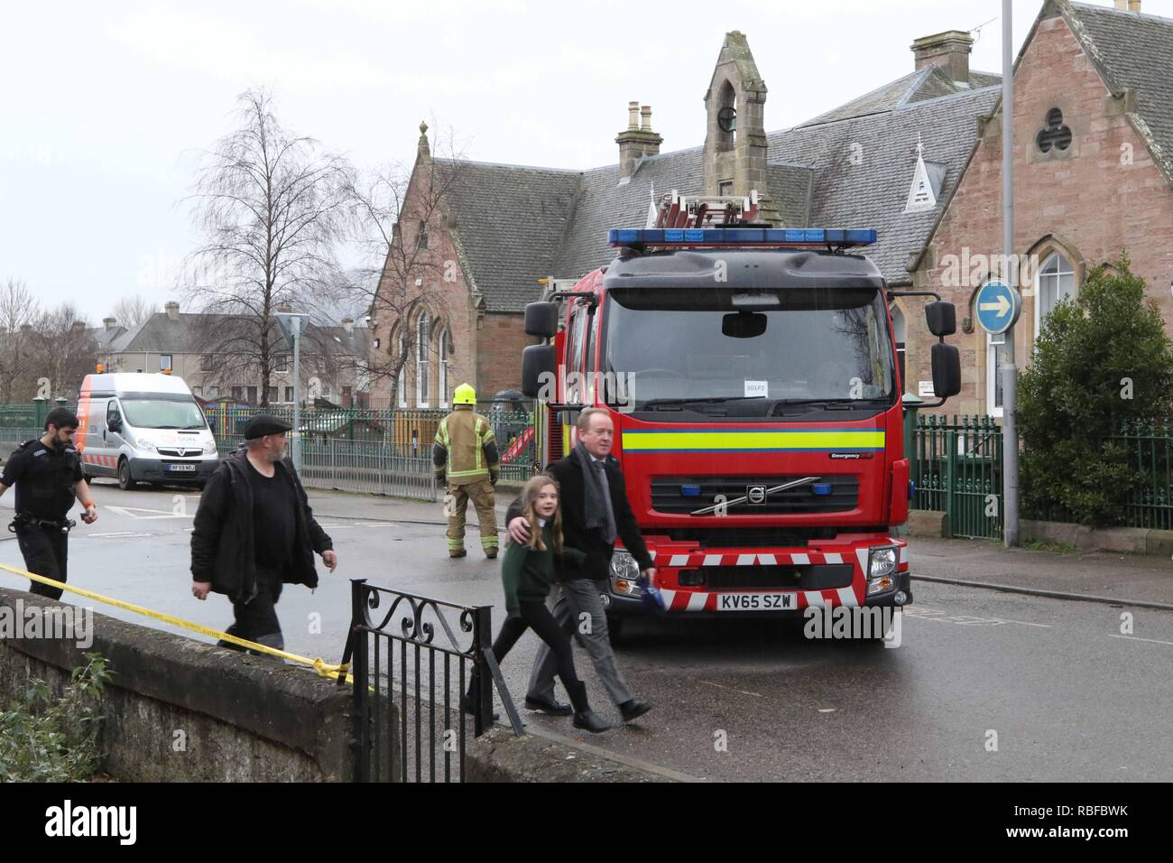 Inverness, Scotland, UK. 10 January 2019: Merkinch Primary School in Inverness was evacuated following reports of a gas leak. Children were evacuated to the nearby Saint Michael episcopal church. Picture: Andrew Smith Credit: Andrew Smith/Alamy Live News - Stock Image