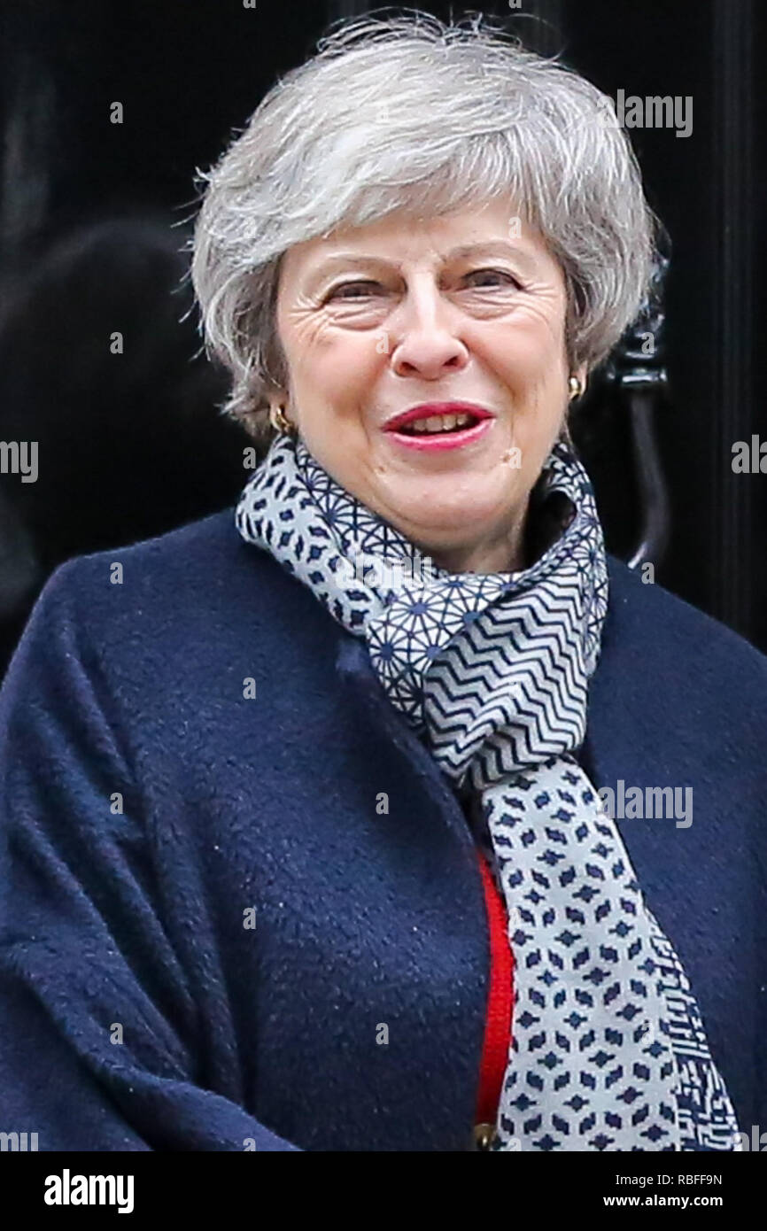 Downing Street, London, UK. 10th Jan, 2019. British Prime Minister Theresa May on the steps of No 10 Downing Street. Credit: Dinendra Haria/Alamy Live News Stock Photo