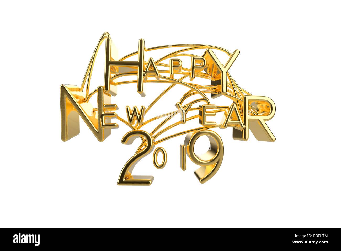 Happy New Year 2019 Christmas Elegant Golden Lettering Word