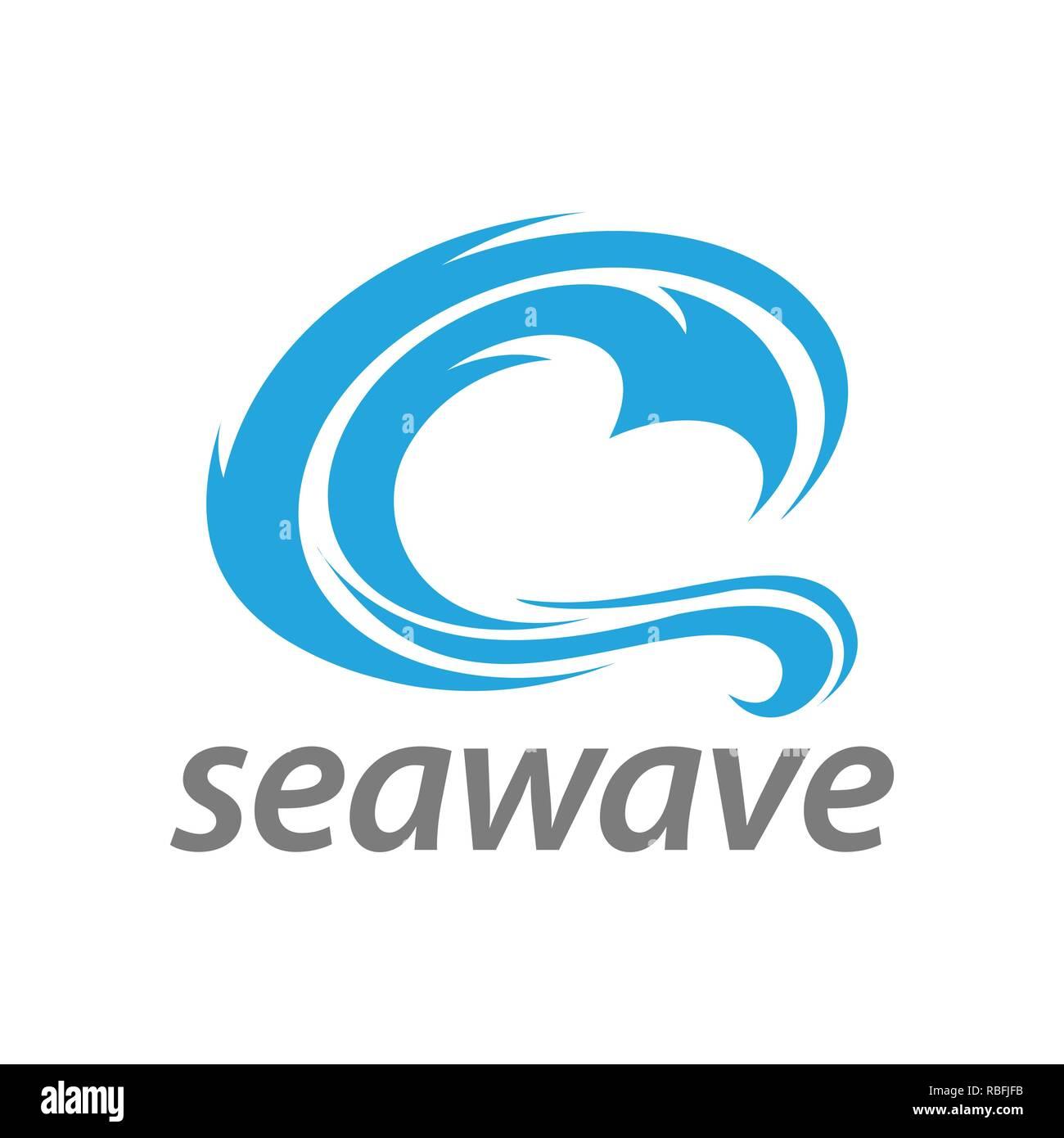 Abstract illustration blue sea wave logo concept design template idea - Stock Image