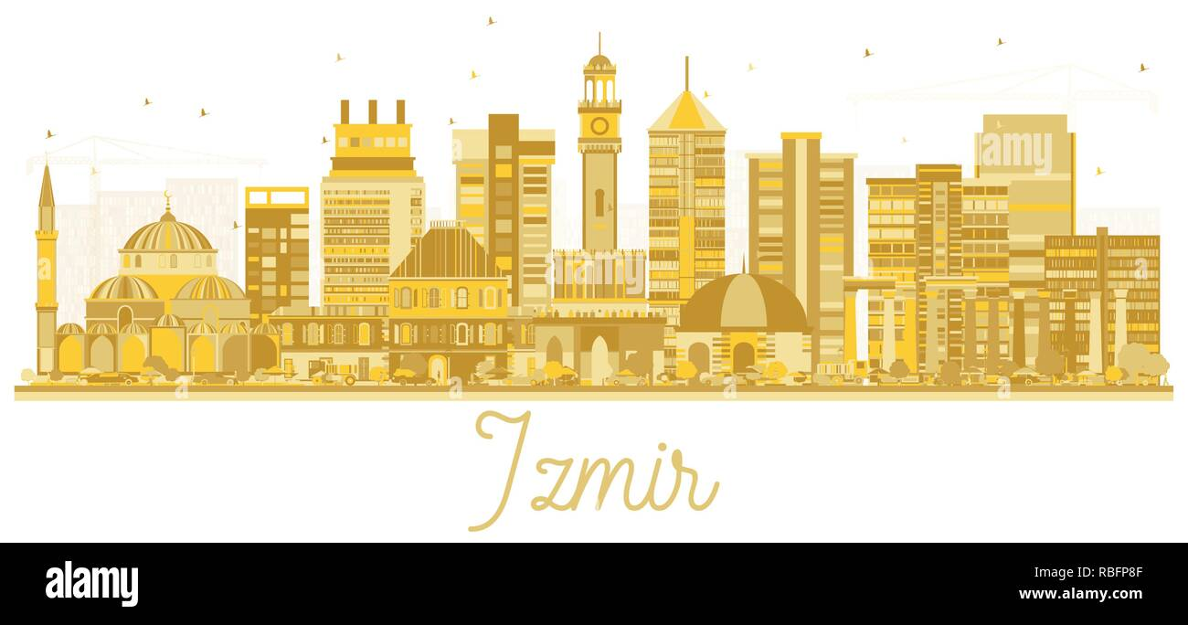 Izmir Turkey City Skyline Silhouette With Golden Buildings Isolated On White Vector Illustration Business Travel And Tourism Concept Stock Vector Image Art Alamy