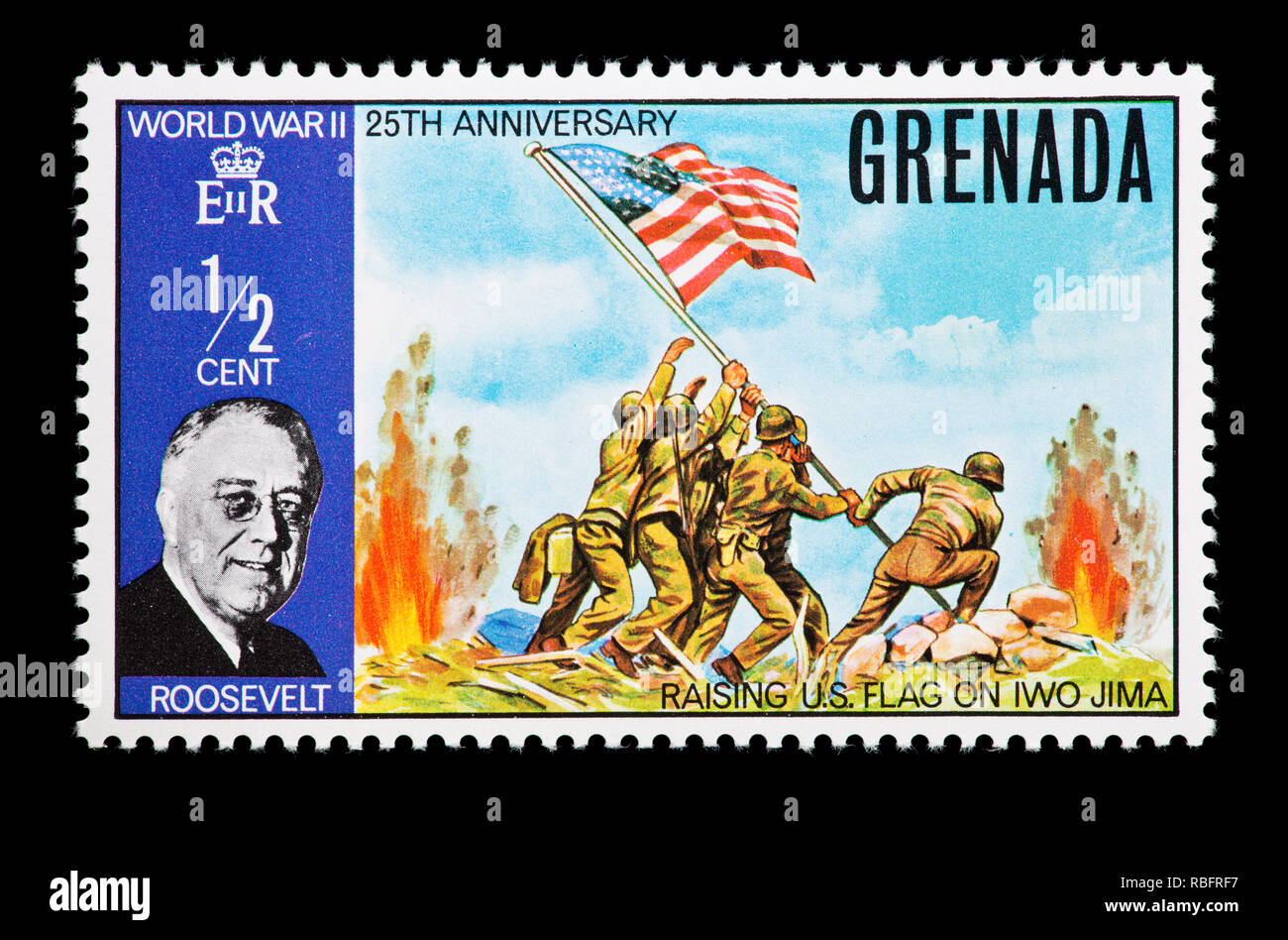 fa2896a17702 Postage stamp from Grenada depicting of the raising of the American flag at  Iwo Jima