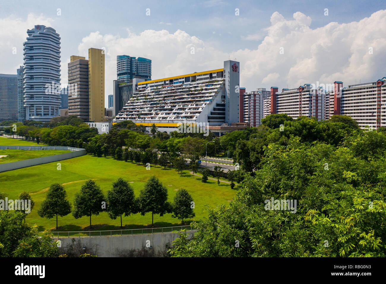 Aerial view of the brutalist design of Golden Mile Complex, Singapore. - Stock Image
