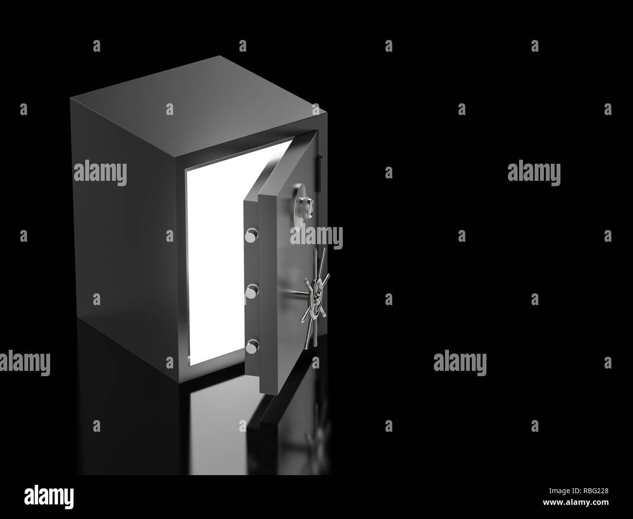 3d rendering bank safe or bank vault open - Stock Image