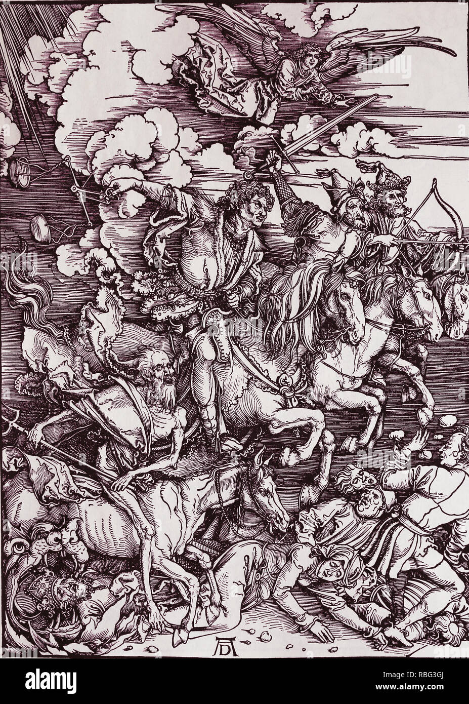 The Four Horsemen of the Apocalypse. Woodcut by Albrecht Durer. 1498. - Stock Image