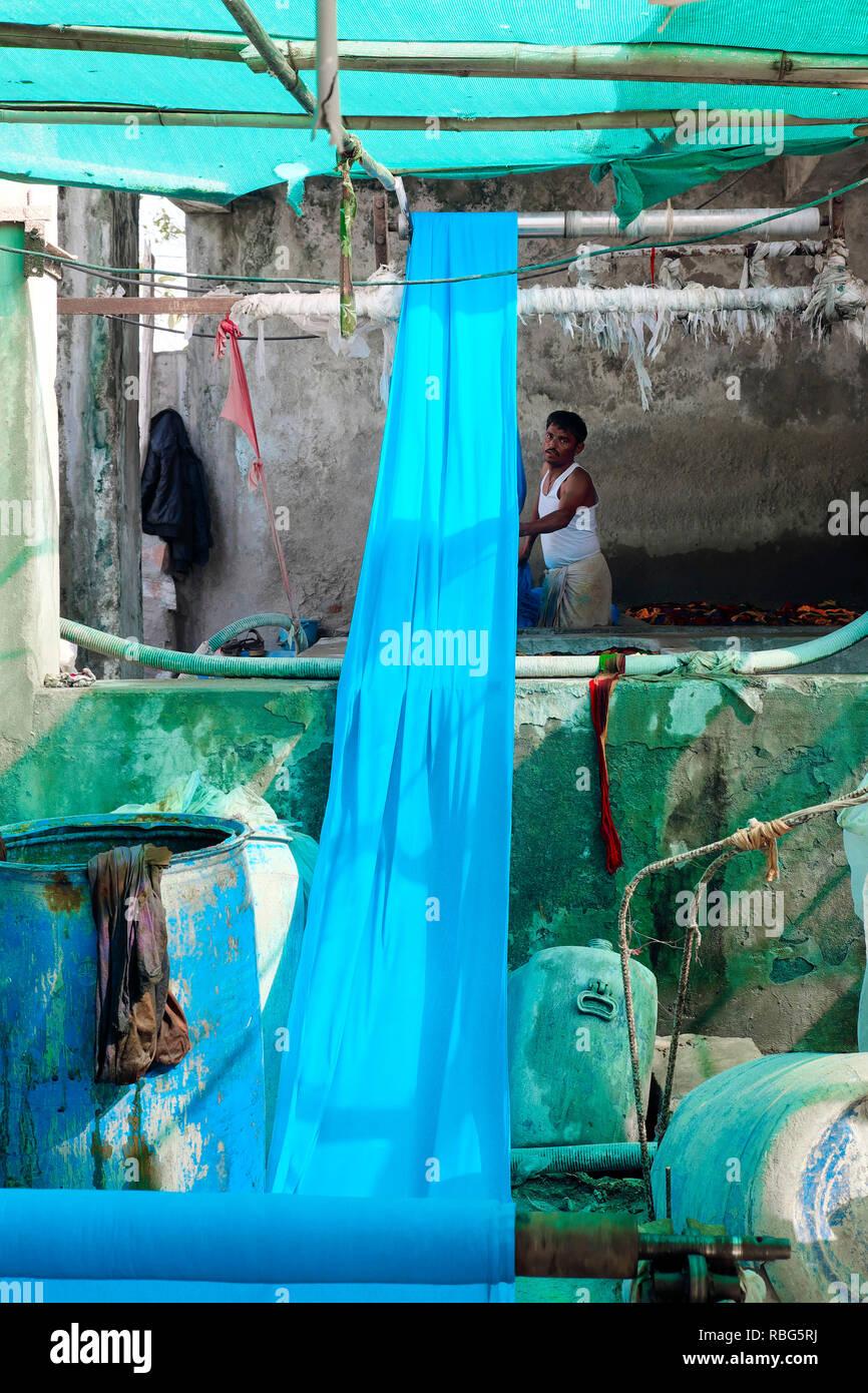 India, Rajasthan, Pali Marwar: sari factory,India, Rajasthan, Pali Marwar: sari factory. Making of Koh-i-Noor saris, multicolored fabrics - Stock Image