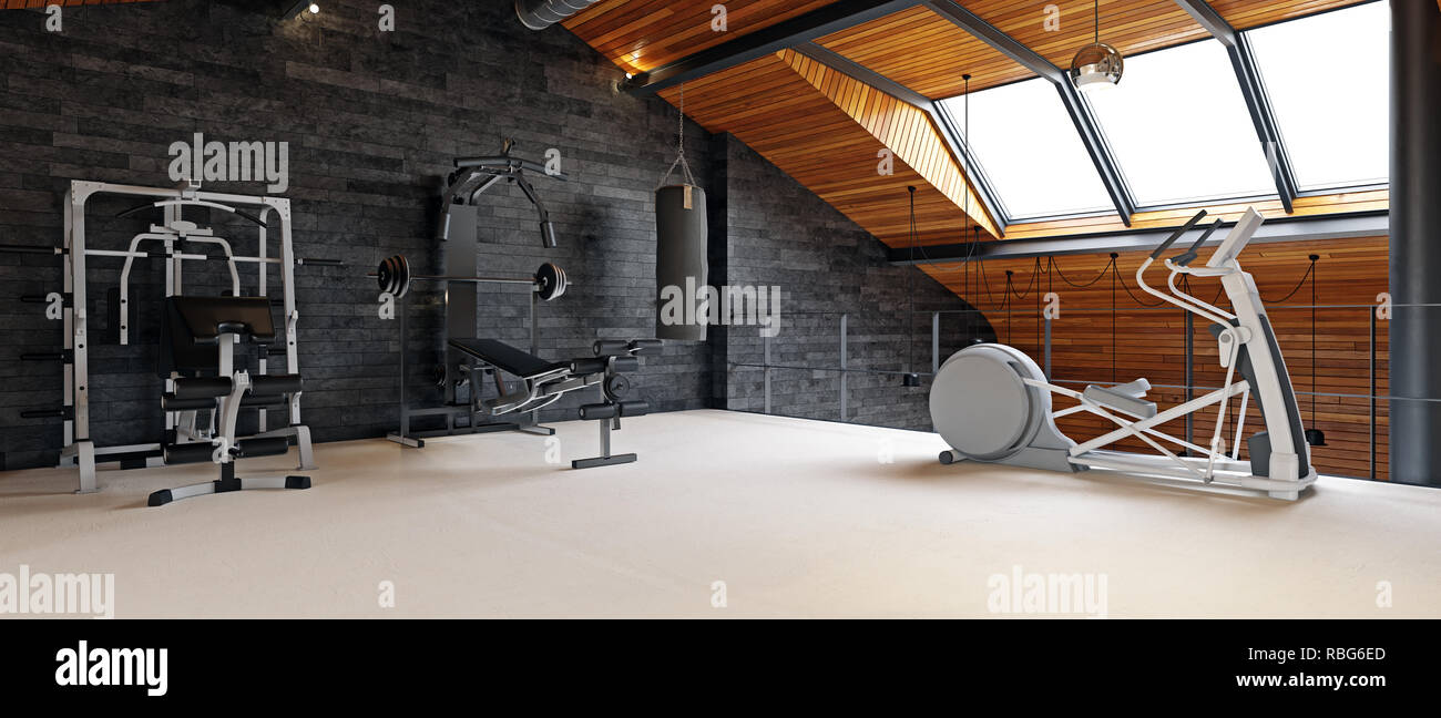 Home gym room in the attic d rendering design concept stock
