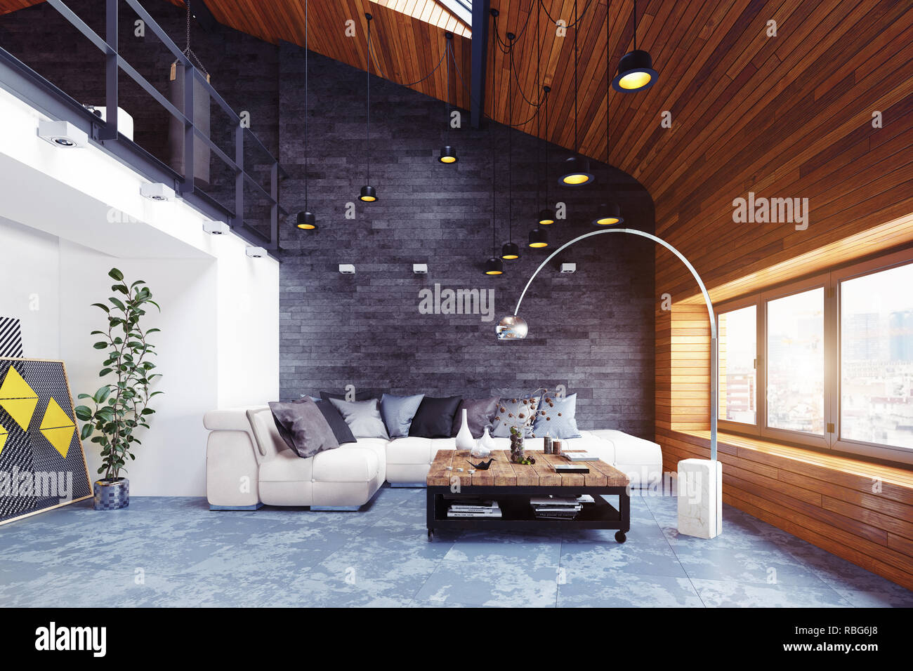 Modern Loft Living Room Interior 3d Rendering Design Concept Stock Photo Alamy
