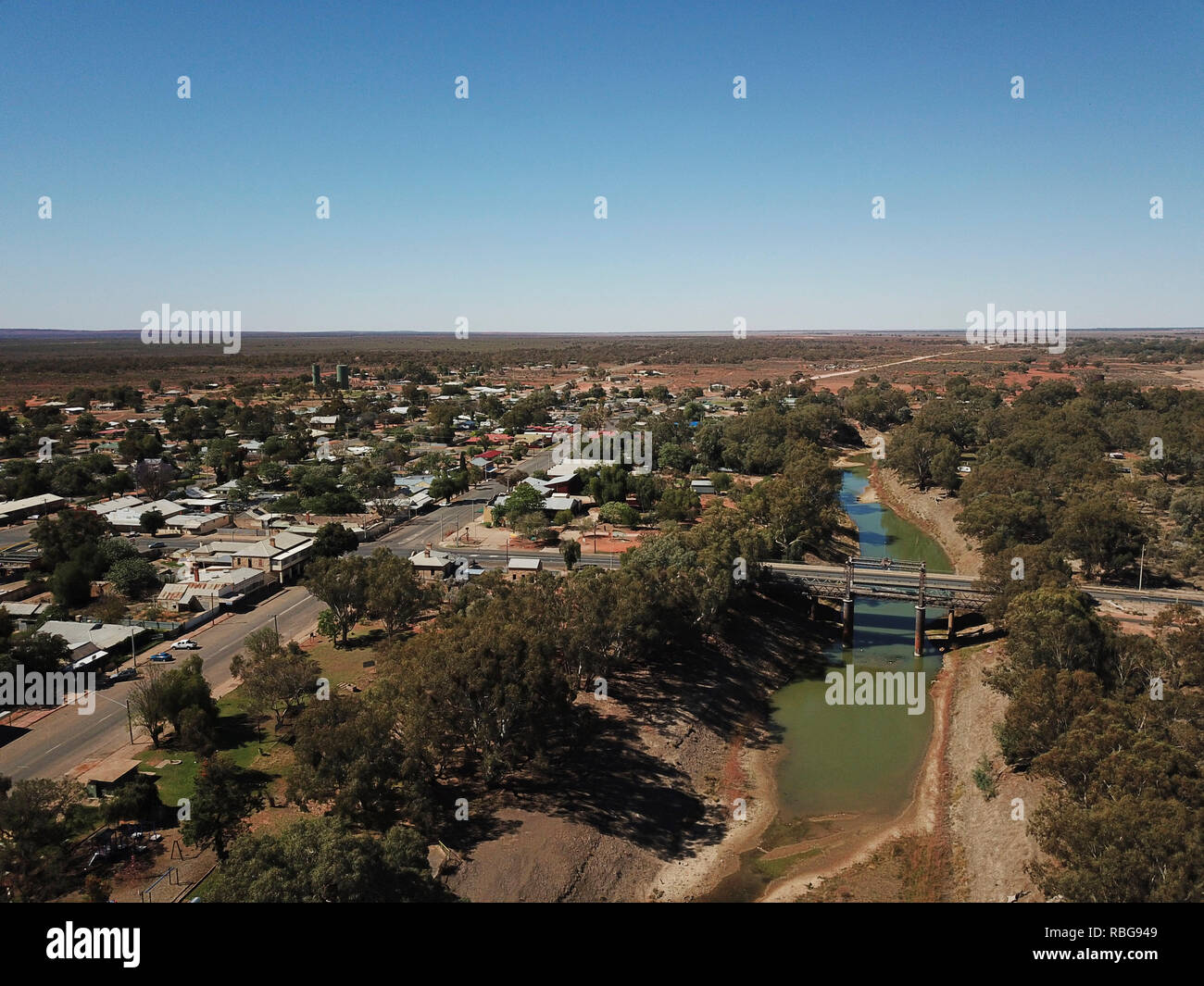 The Darling River during drought conditions at Wilcannia  New South Wales Australia - Stock Image