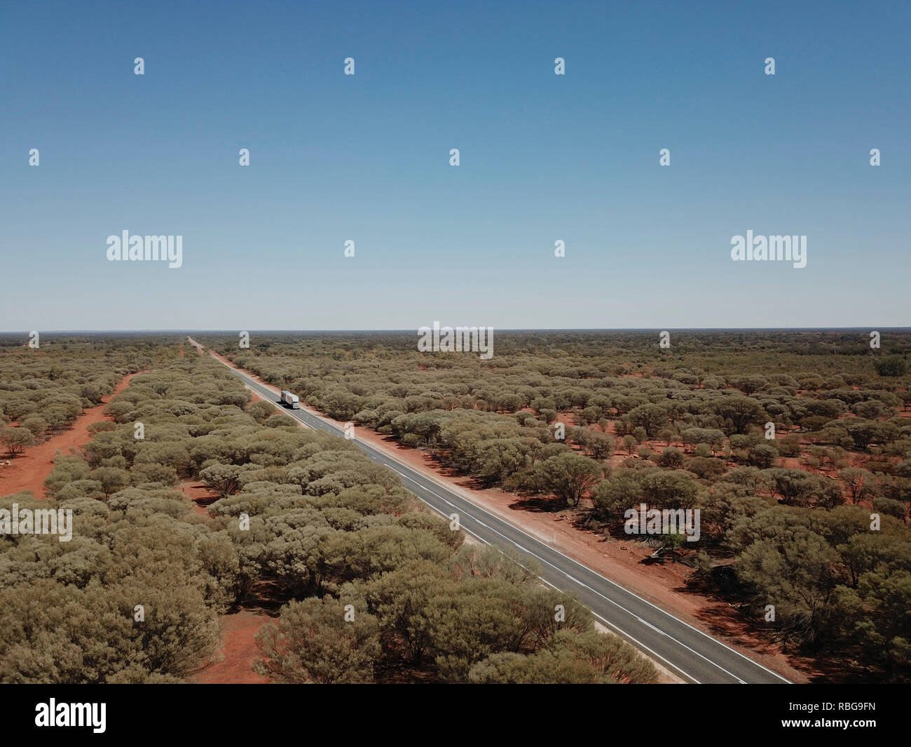 Aerial of the Barrier Highway midway between Cobar and Wilcannia New South Wales Australia - Stock Image