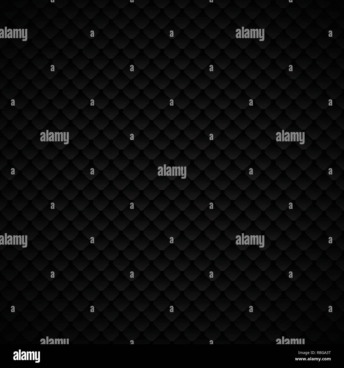 Abstract luxury black geometric squares pattern design on dark background. Luxurious texture. carbon metallic surface. Vector illustration - Stock Image