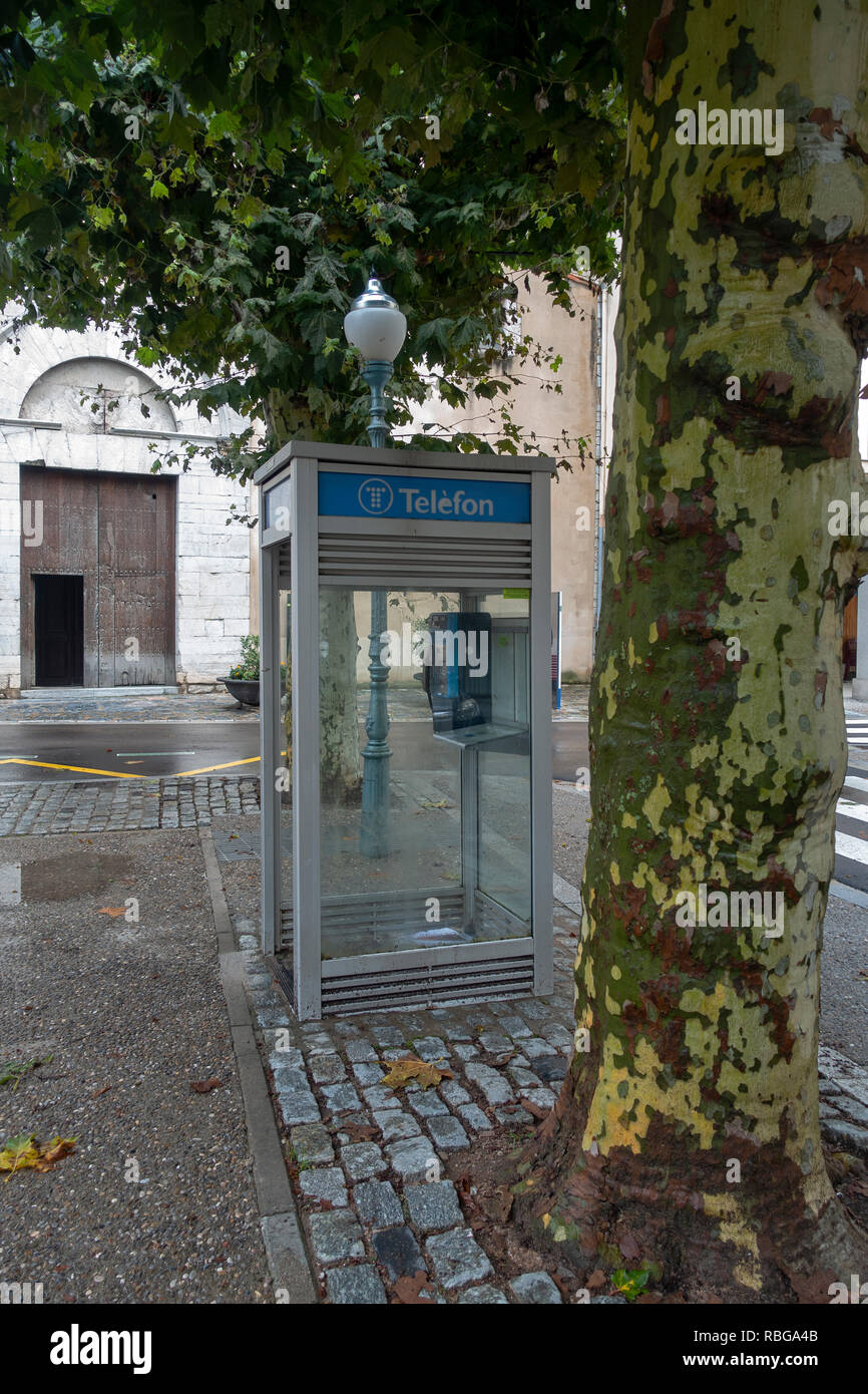 Old telephone box.Caprodon.Catalunya.Spain - Stock Image
