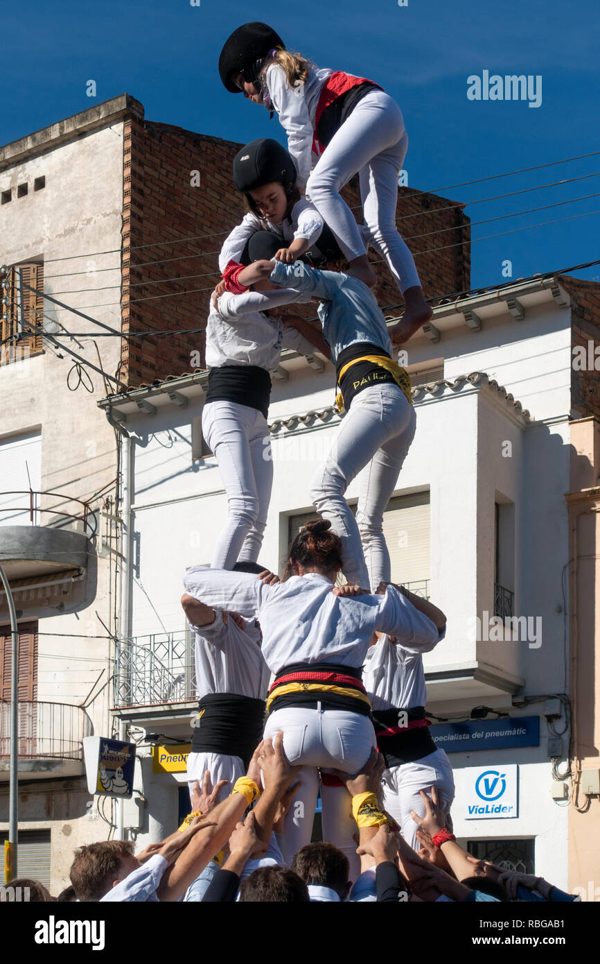 Castellers (human tower).Traditional festival.Tremp.Lleida.Catalunya.Spain - Stock Image