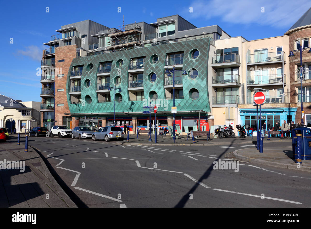 On the seafront at Porthcawl with apartments along the main road giving grand walks and superb sea views, located a few miles away from Bridgend. - Stock Image