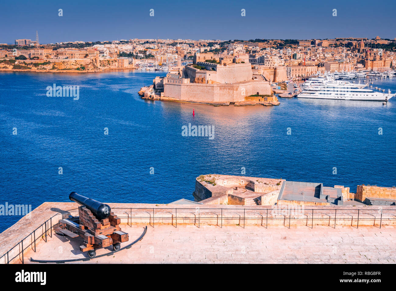 Malta, view of Fort St. Angelo from Valletta, Grand Harbour of maltese island. - Stock Image