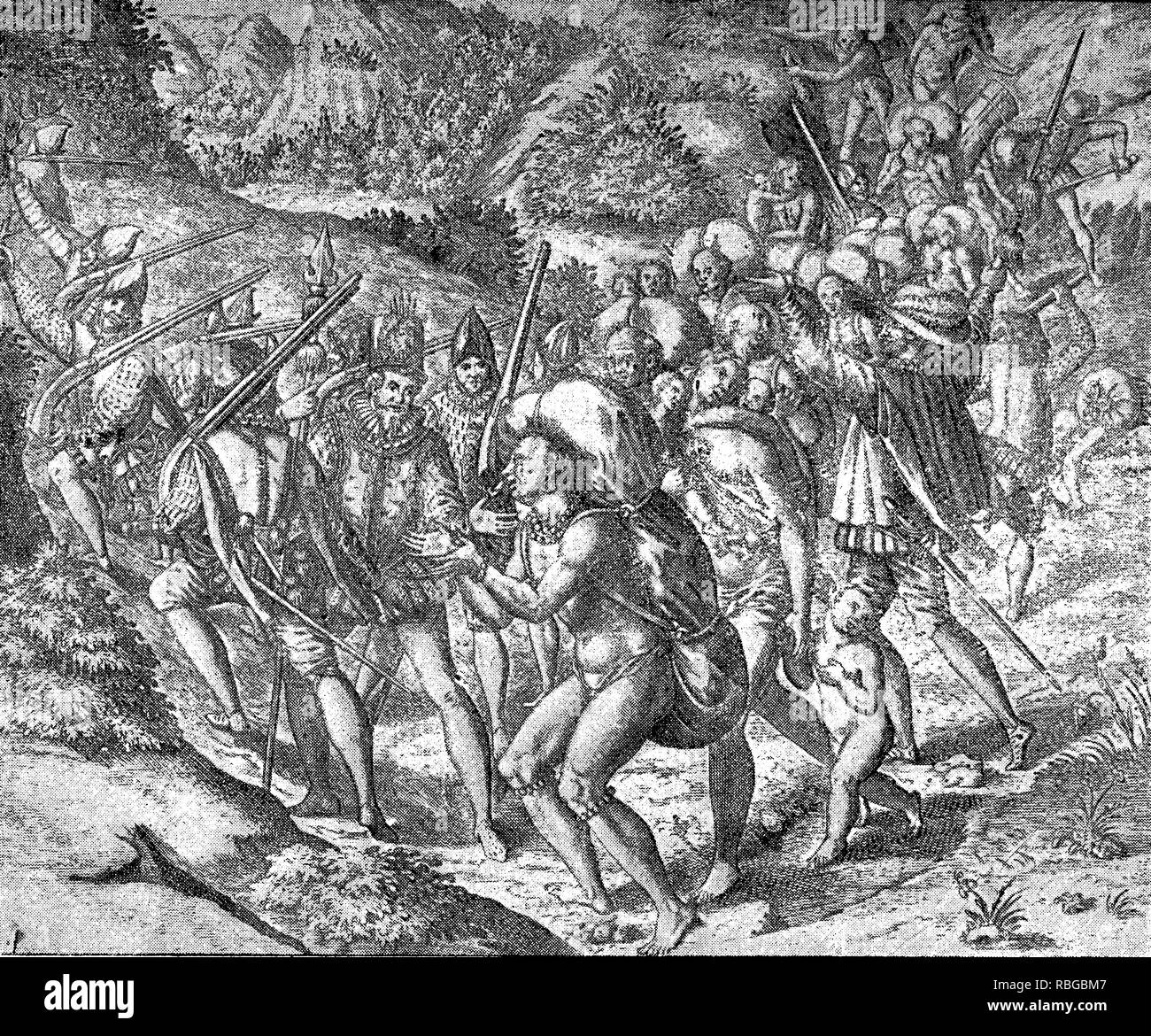 conquest of the Inca empire by Spanish conquistador Francisco Pizarro in XVI century: Spanish soldiers on the road accompanied by aborigines slaves, men and women with children, overloaded with heavy packages - Stock Image