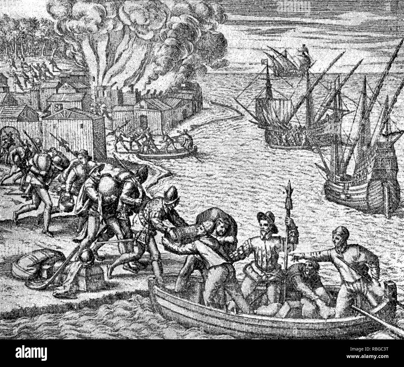 conquest of the Inca empire by Spanish conquistador Francisco Pizarro in XVI century:  Spanish soldiers move their loot on board to the ships - Stock Image