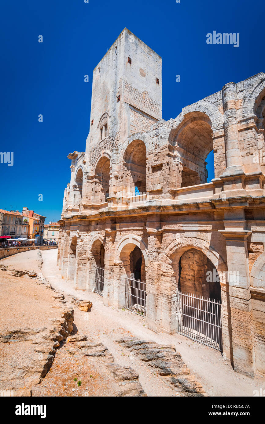 Arles, France. Ancient roman Amphiteatre (Arena) in the old Provence city. Stock Photo