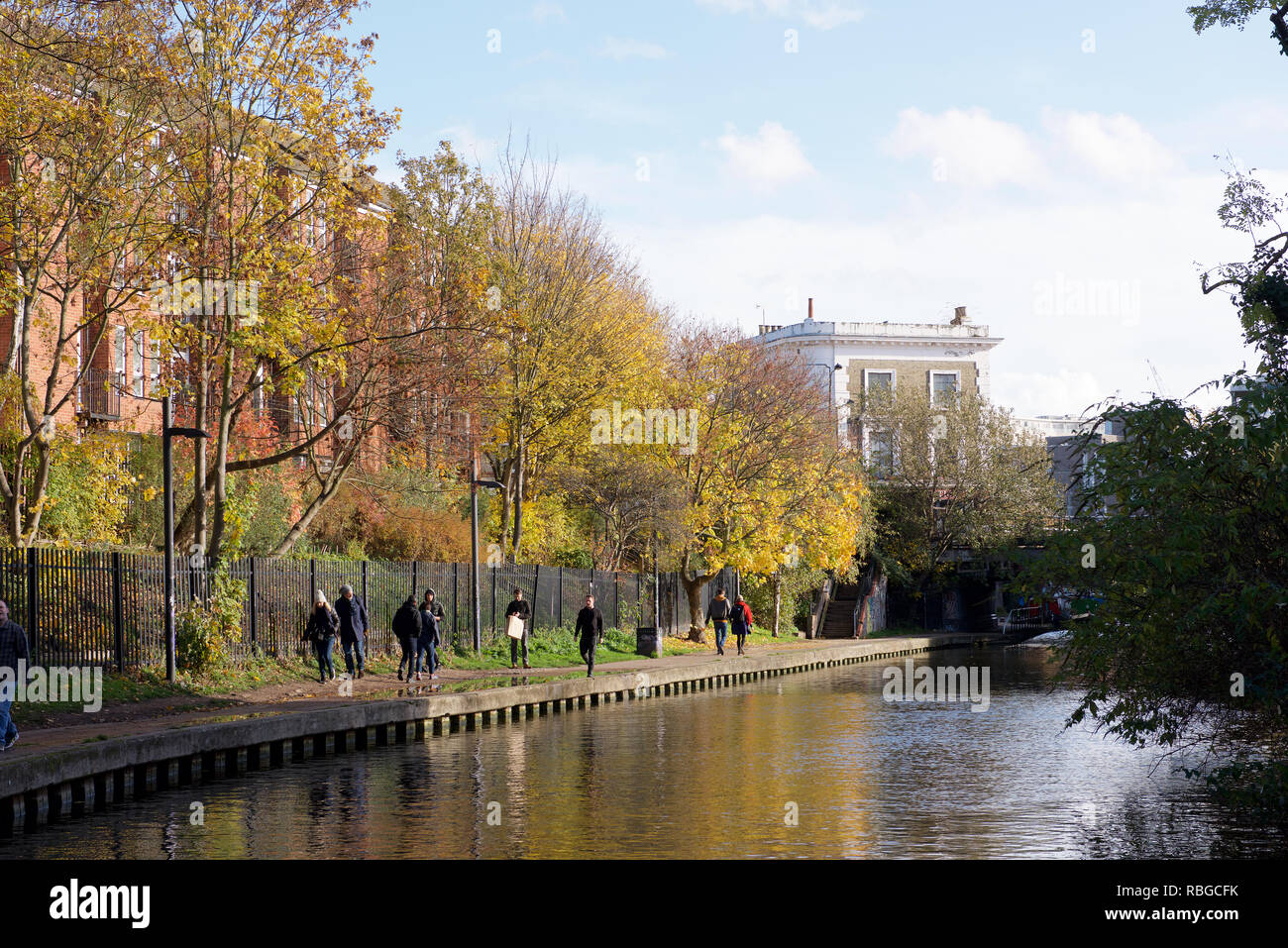 Towpath alongside the Regent's Canal in London - Stock Image