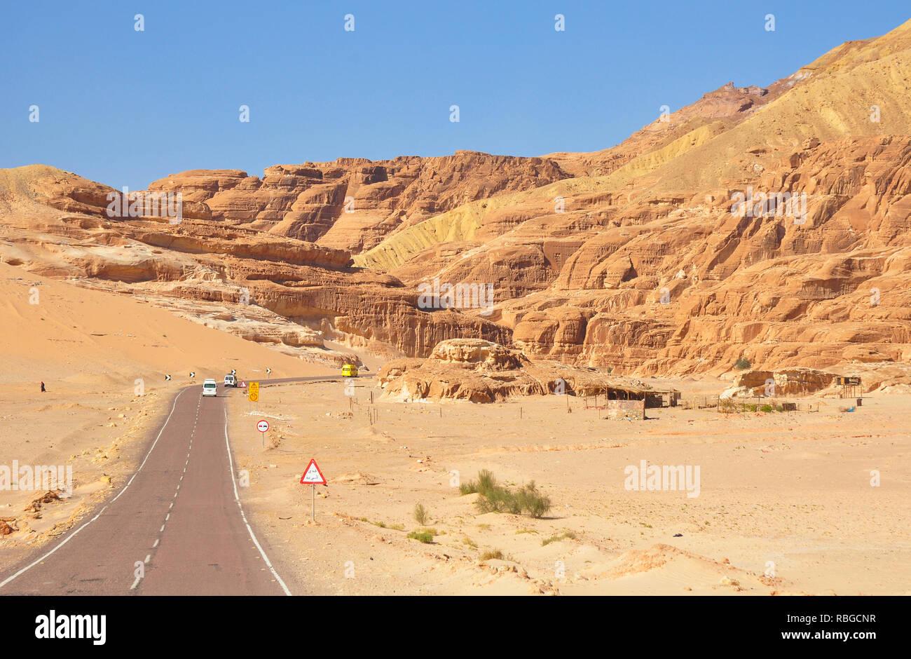 Desert Road and Desert Landscape. - Stock Image