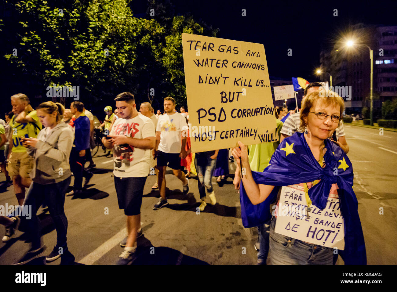 Brasov - Romania, 11 August 2018: Thousands of Romanians living in Brasov support the Diaspora anti-government protest to take place in Bucharest. - Stock Image