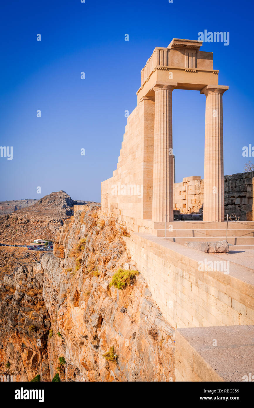 Rhodes, Greece. Lindos small whitewashed village and the Acropolis, scenery of Rhodos Island at Aegean Sea. - Stock Image