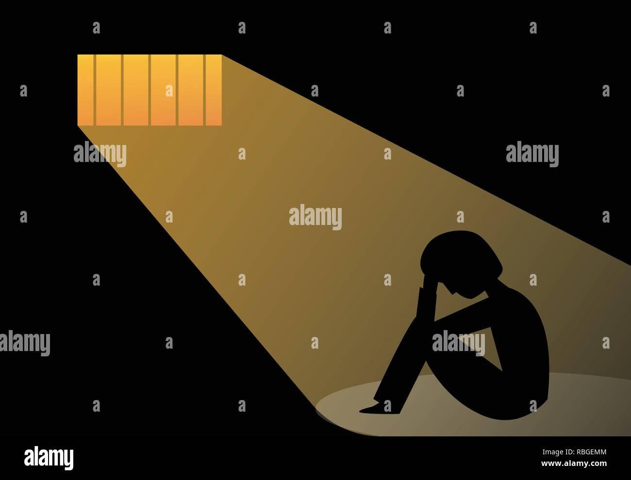 Hopeless man in prison, vector art design - Stock Image