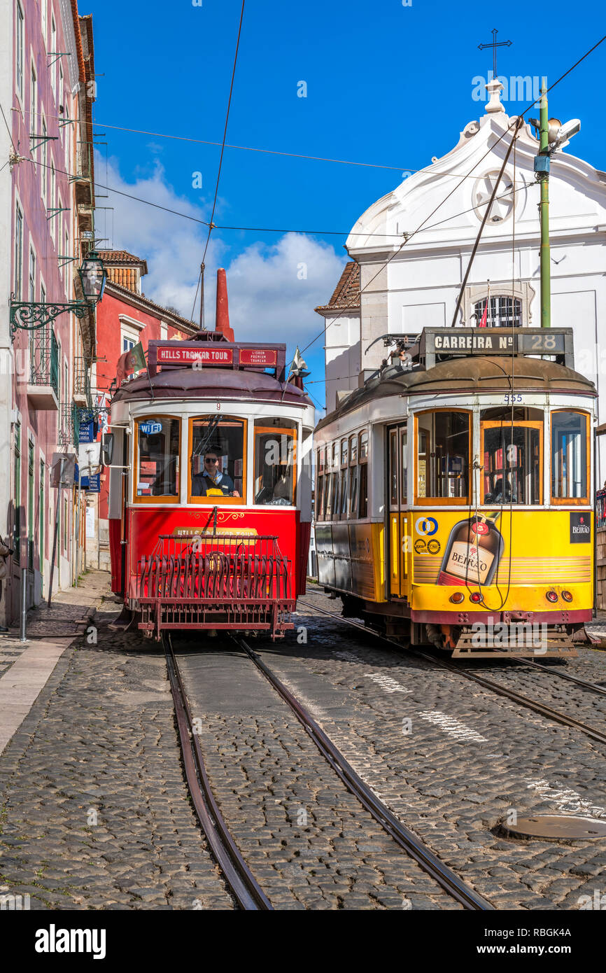 Tramways, Alfama district, Lisbon, Portugal Stock Photo