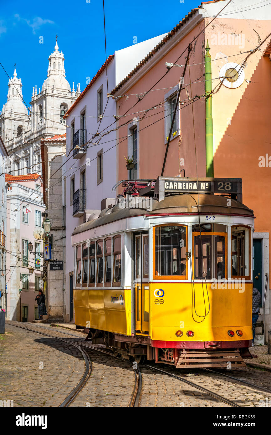 Tramway, Alfama district, Lisbon, Portugal - Stock Image