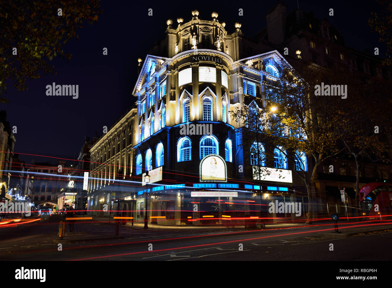 Novello theatre at night, Aldwych, London, United Kingdom - Stock Image