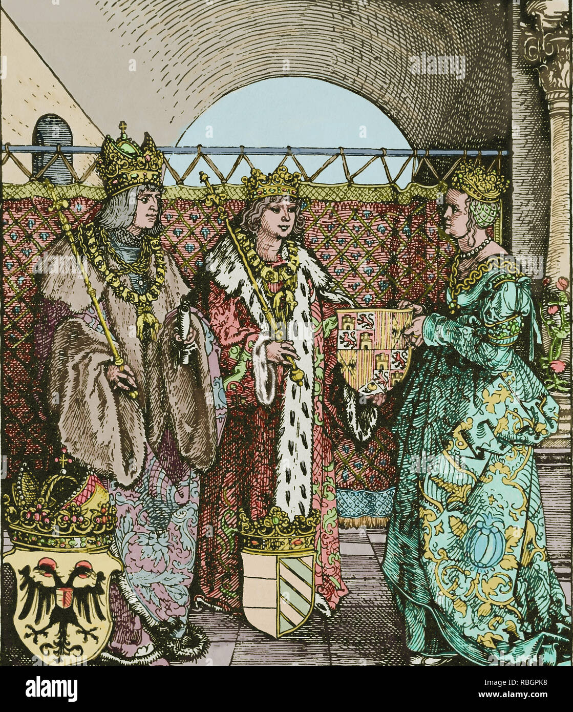 The betrothal of Archduke Philip ( 1478-1506) with Joanna of Castile (1479-1555). - Stock Image