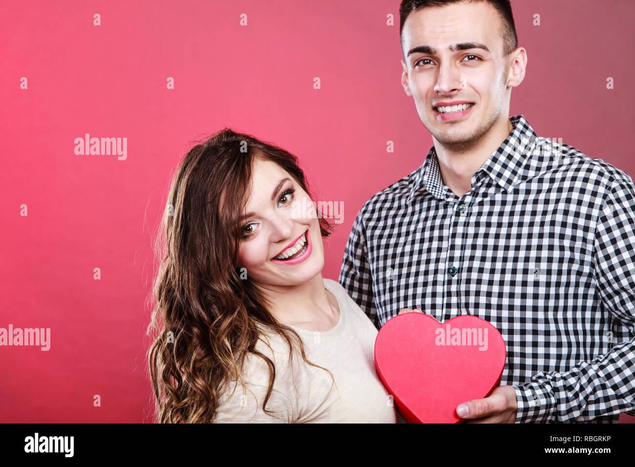 Romantic Couple On Valentines Day Happy Joyful Man And
