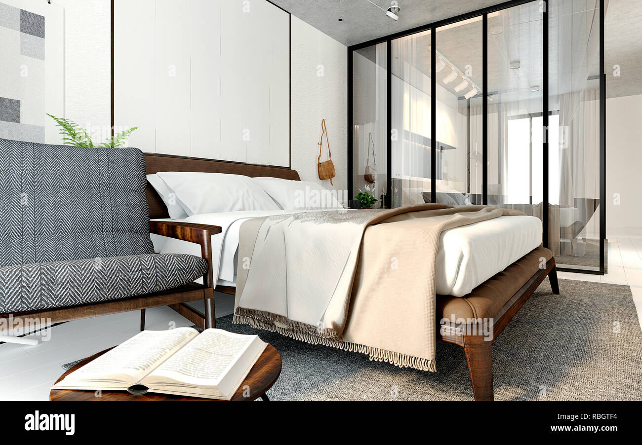 3d render modern hotel room Stock Photo