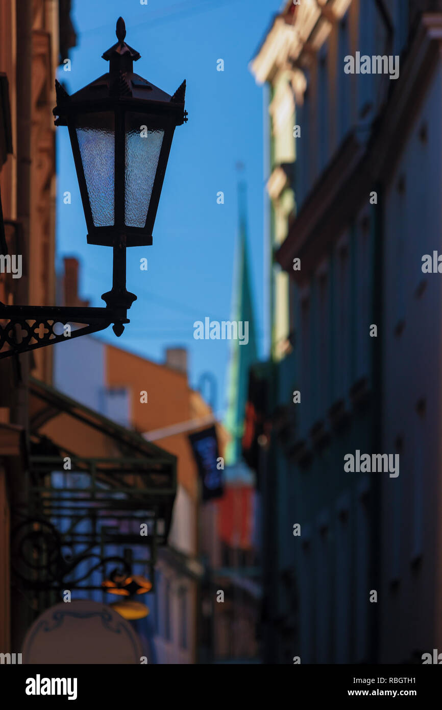 Street lamp in the center of Old Riga - Stock Image